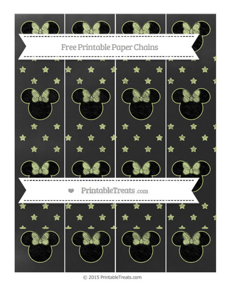 Free Pastel Lime Green Star Pattern Chalk Style Minnie Mouse Paper Chains