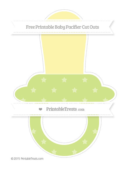 Free Pastel Lime Green Star Pattern Extra Large Baby Pacifier Cut Outs