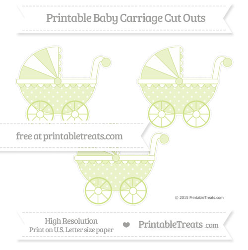 Free Pastel Lime Green Star Pattern Medium Baby Carriage Cut Outs