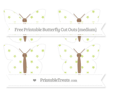Free Pastel Lime Green Star Pattern Medium Butterfly Cut Outs