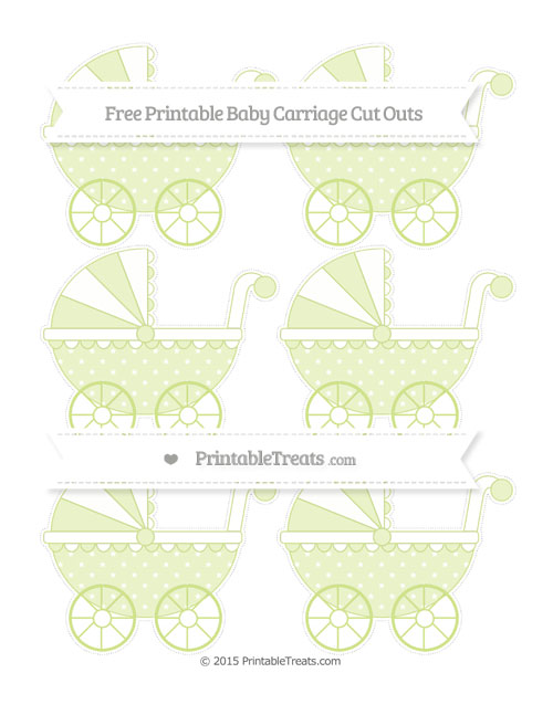 Free Pastel Lime Green Star Pattern Small Baby Carriage Cut Outs