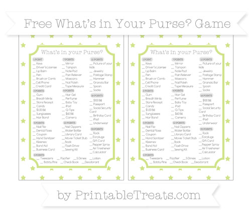 Free Pastel Lime Green Star Pattern What's in Your Purse Baby Shower Game