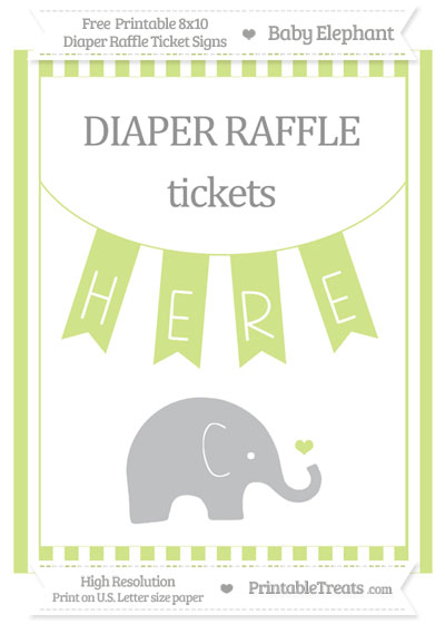 Free Pastel Lime Green Striped Baby Elephant 8x10 Diaper Raffle Ticket Sign