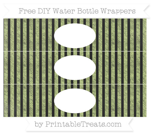 Free Pastel Lime Green Striped Chalk Style DIY Water Bottle Wrappers