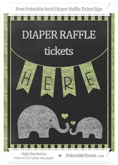 Free Pastel Lime Green Striped Chalk Style Elephant 8x10 Diaper Raffle Ticket Sign