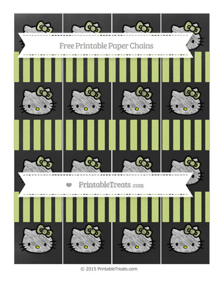 Free Pastel Lime Green Striped Chalk Style Hello Kitty Paper Chains