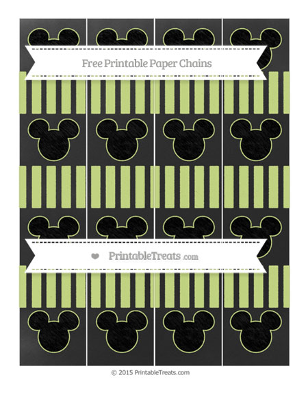 Free Pastel Lime Green Striped Chalk Style Mickey Mouse Paper Chains