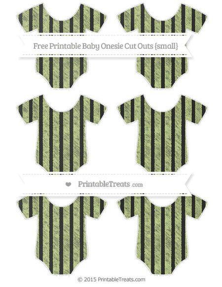 Free Pastel Lime Green Striped Chalk Style Small Baby Onesie Cut Outs