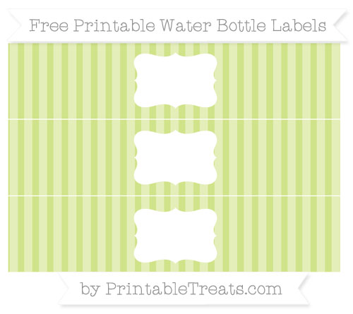 Free Pastel Lime Green Striped Water Bottle Labels