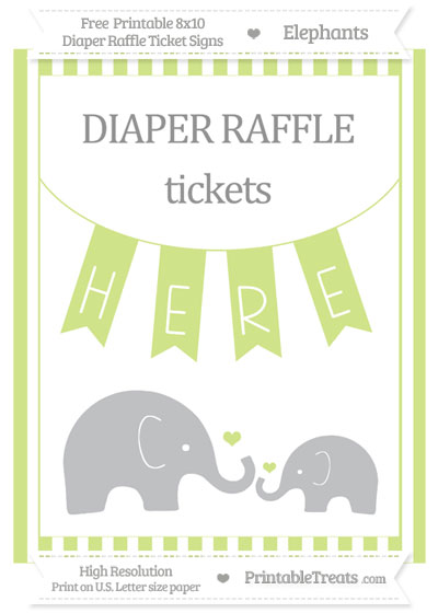 Free Pastel Lime Green Striped Elephant 8x10 Diaper Raffle Ticket Sign