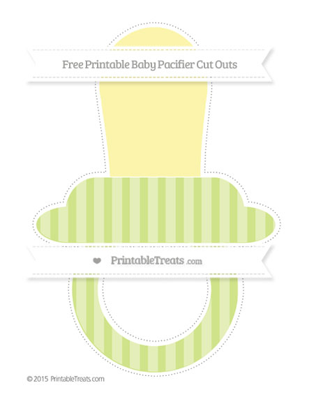 Free Pastel Lime Green Striped Extra Large Baby Pacifier Cut Outs