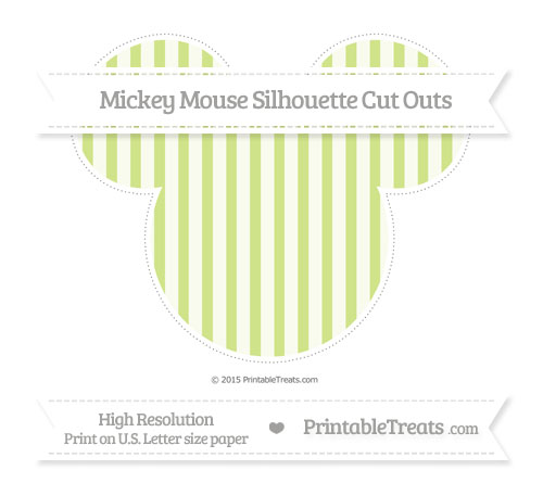 Free Pastel Lime Green Striped Extra Large Mickey Mouse Silhouette Cut Outs