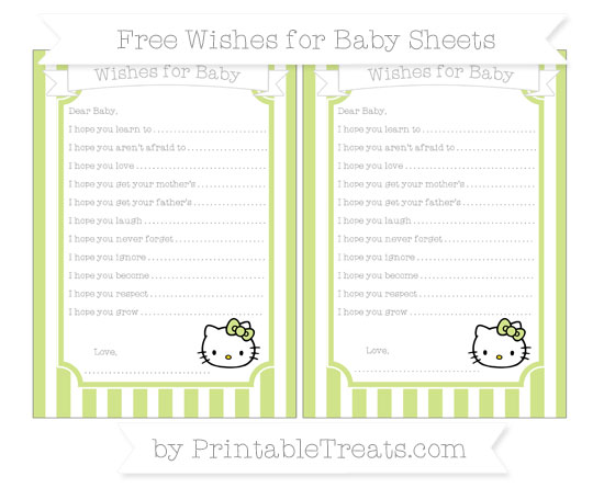 Free Pastel Lime Green Striped Hello Kitty Wishes for Baby Sheets