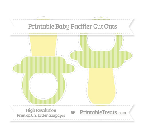Free Pastel Lime Green Striped Large Baby Pacifier Cut Outs