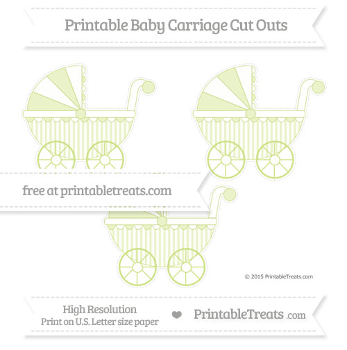 Free Pastel Lime Green Striped Medium Baby Carriage Cut Outs