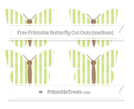 Free Pastel Lime Green Striped Medium Butterfly Cut Outs