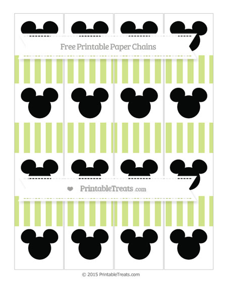 Free Pastel Lime Green Striped Mickey Mouse Paper Chains