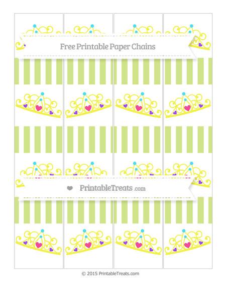 Free Pastel Lime Green Striped Princess Tiara Paper Chains