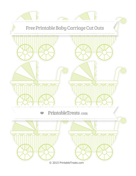 Free Pastel Lime Green Striped Small Baby Carriage Cut Outs