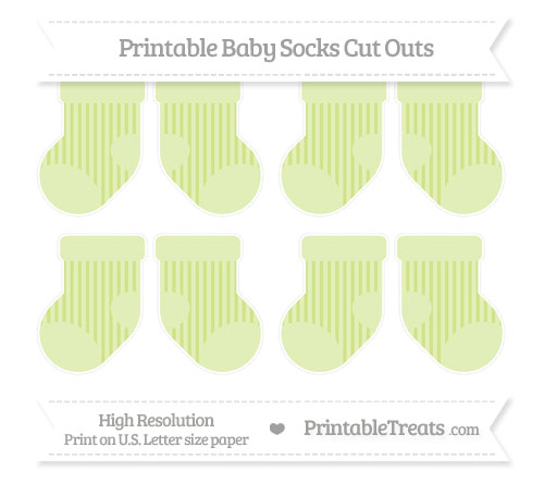 Free Pastel Lime Green Striped Small Baby Socks Cut Outs