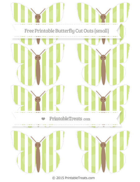 Free Pastel Lime Green Striped Small Butterfly Cut Outs