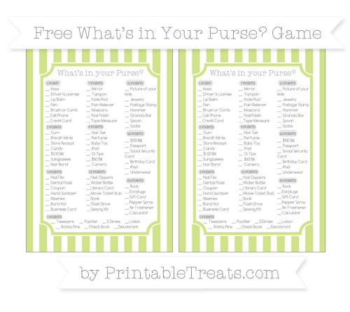 Free Pastel Lime Green Striped What's in Your Purse Baby Shower Game