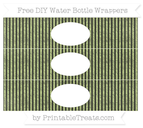 Free Pastel Lime Green Thin Striped Pattern Chalk Style DIY Water Bottle Wrappers