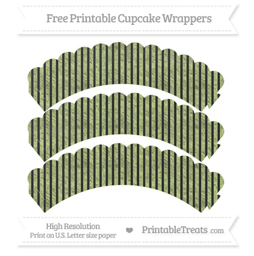 Free Pastel Lime Green Thin Striped Pattern Chalk Style Scalloped Cupcake Wrappers