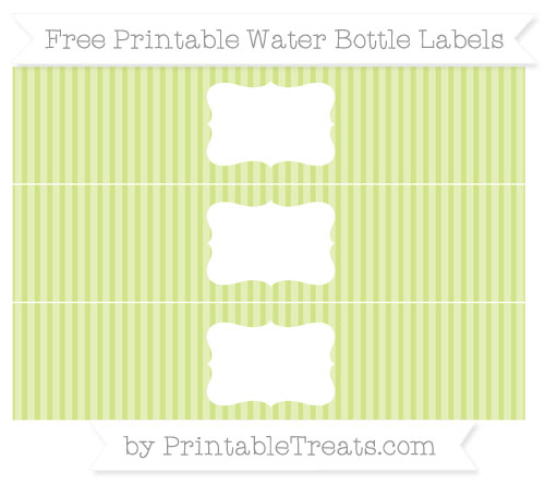 Free Pastel Lime Green Thin Striped Pattern Water Bottle Labels