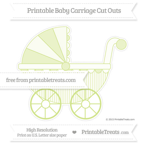 Free Pastel Lime Green Thin Striped Pattern Extra Large Baby Carriage Cut Outs