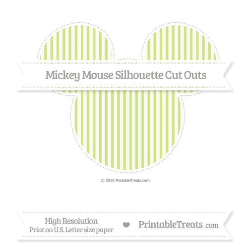 Free Pastel Lime Green Thin Striped Pattern Extra Large Mickey Mouse Silhouette Cut Outs