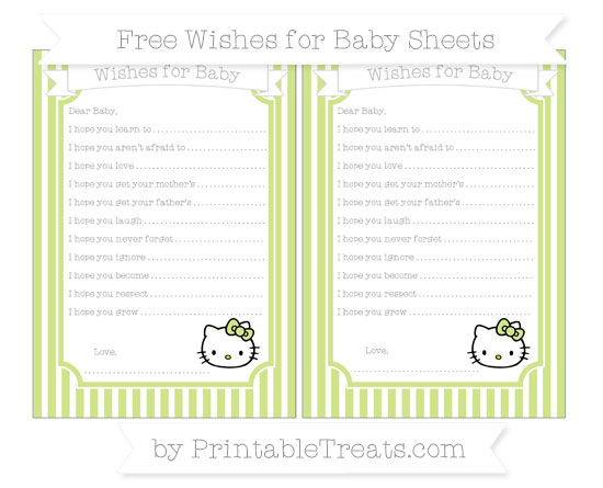 Free Pastel Lime Green Thin Striped Pattern Hello Kitty Wishes for Baby Sheets