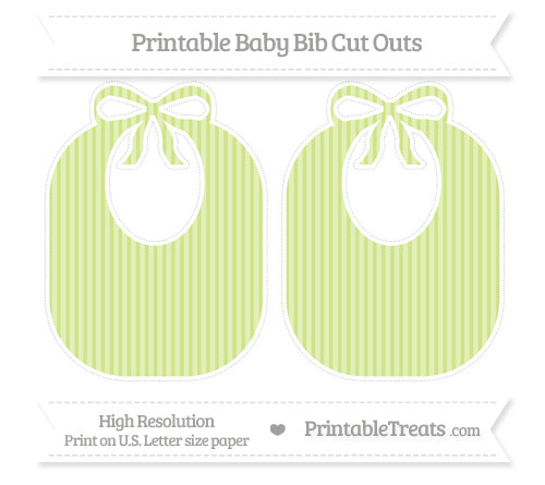 Free Pastel Lime Green Thin Striped Pattern Large Baby Bib Cut Outs