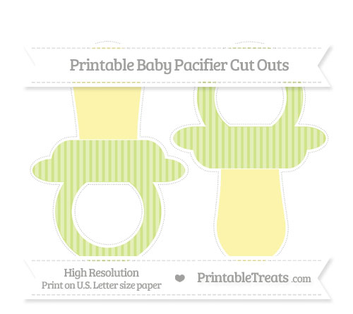 Free Pastel Lime Green Thin Striped Pattern Large Baby Pacifier Cut Outs