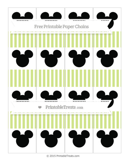 Free Pastel Lime Green Thin Striped Pattern Mickey Mouse Paper Chains