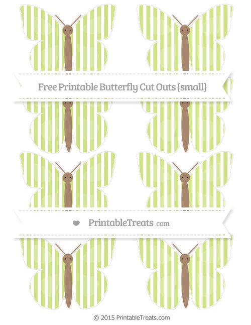 Free Pastel Lime Green Thin Striped Pattern Small Butterfly Cut Outs