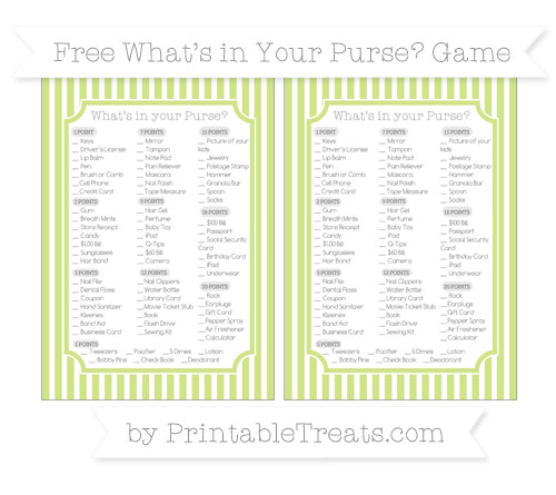 Free Pastel Lime Green Thin Striped Pattern What's in Your Purse Baby Shower Game