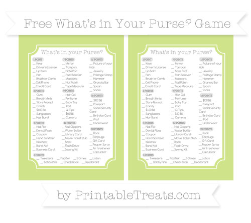 Free Pastel Lime Green What's in Your Purse Baby Shower Game