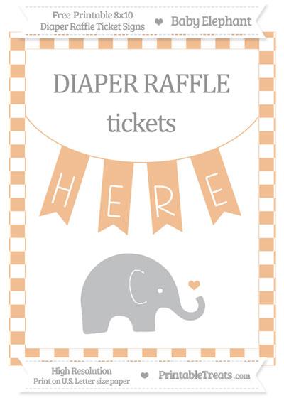 Free Pastel Orange Checker Pattern Baby Elephant 8x10 Diaper Raffle Ticket Sign