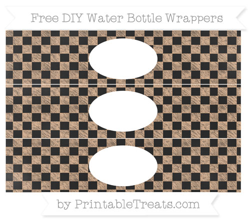 Free Pastel Orange Checker Pattern Chalk Style DIY Water Bottle Wrappers