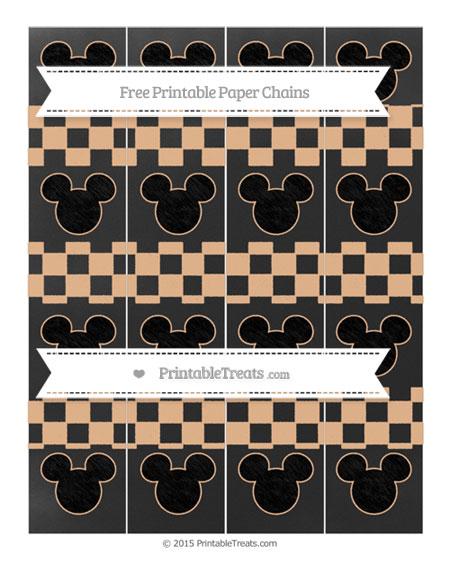 Free Pastel Orange Checker Pattern Chalk Style Mickey Mouse Paper Chains
