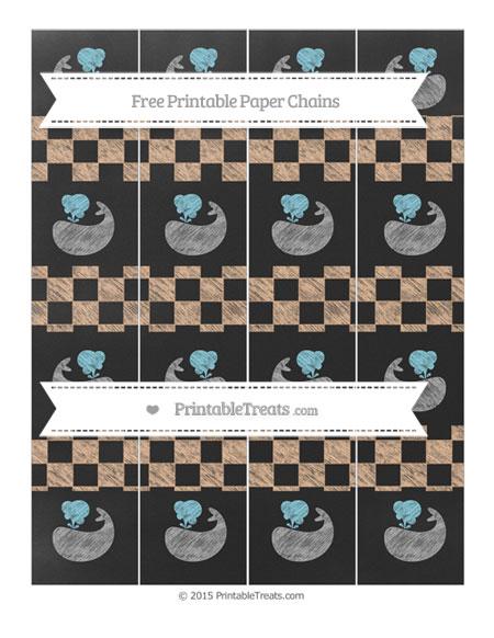 Free Pastel Orange Checker Pattern Chalk Style Whale Paper Chains