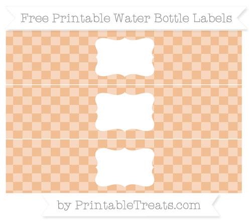 Free Pastel Orange Checker Pattern Water Bottle Labels
