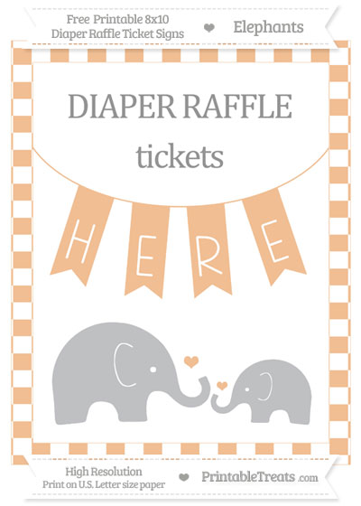 Free Pastel Orange Checker Pattern Elephant 8x10 Diaper Raffle Ticket Sign