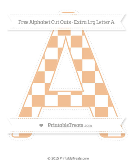 Free Pastel Orange Checker Pattern Extra Large Capital Letter A Cut Outs