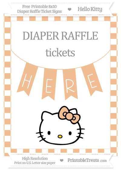 Free Pastel Orange Checker Pattern Hello Kitty 8x10 Diaper Raffle Ticket Sign