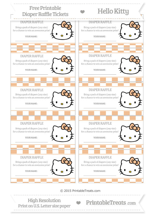 Free Pastel Orange Checker Pattern Hello Kitty Diaper Raffle Tickets