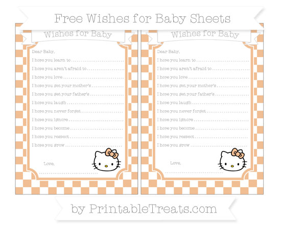 Free Pastel Orange Checker Pattern Hello Kitty Wishes for Baby Sheets