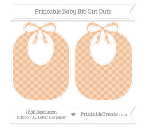 Free Pastel Orange Checker Pattern Large Baby Bib Cut Outs