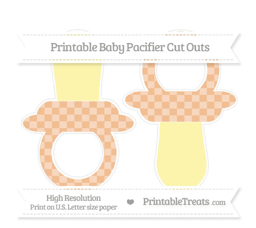 Free Pastel Orange Checker Pattern Large Baby Pacifier Cut Outs